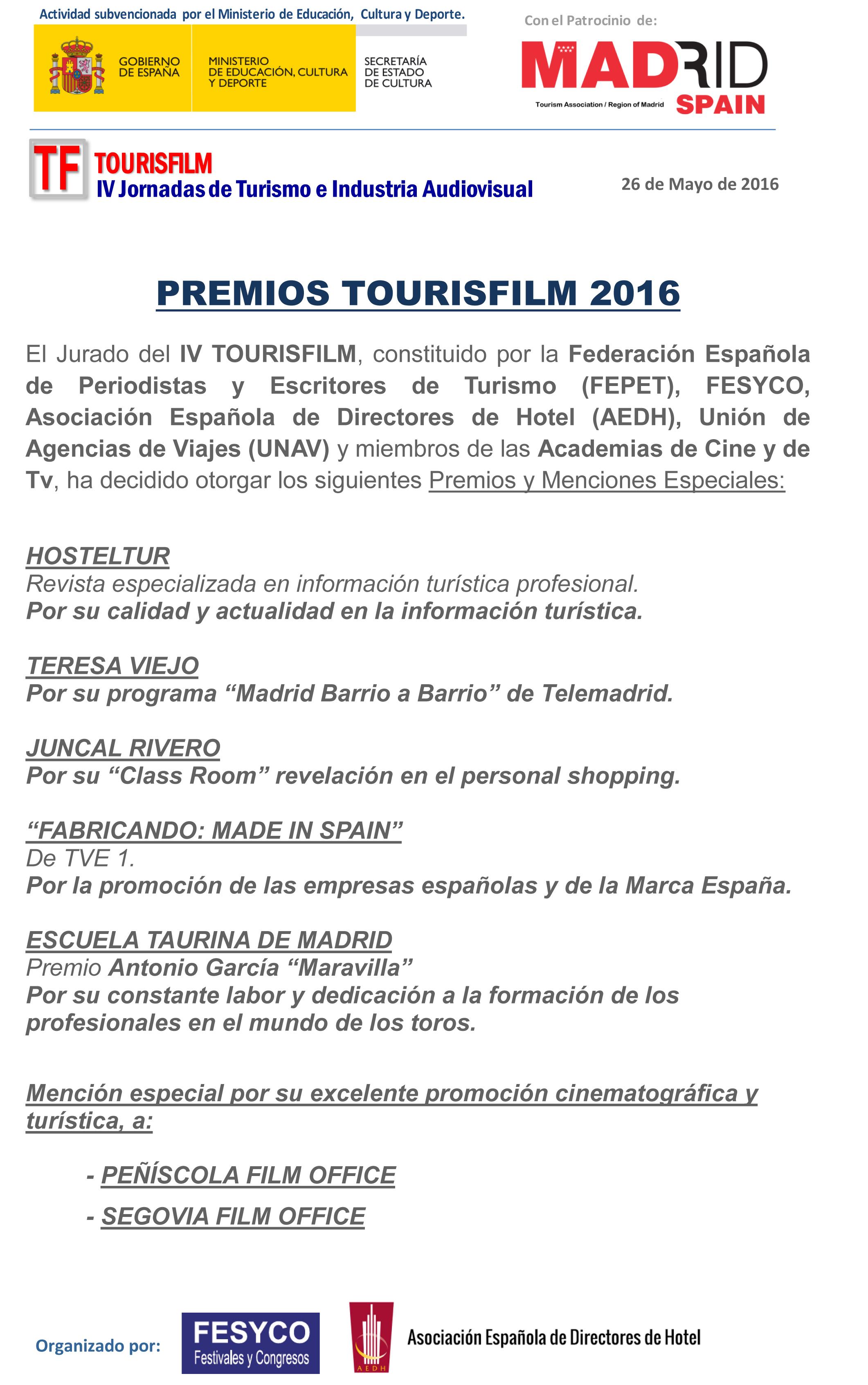 Premios TOURISFILM  2016-1