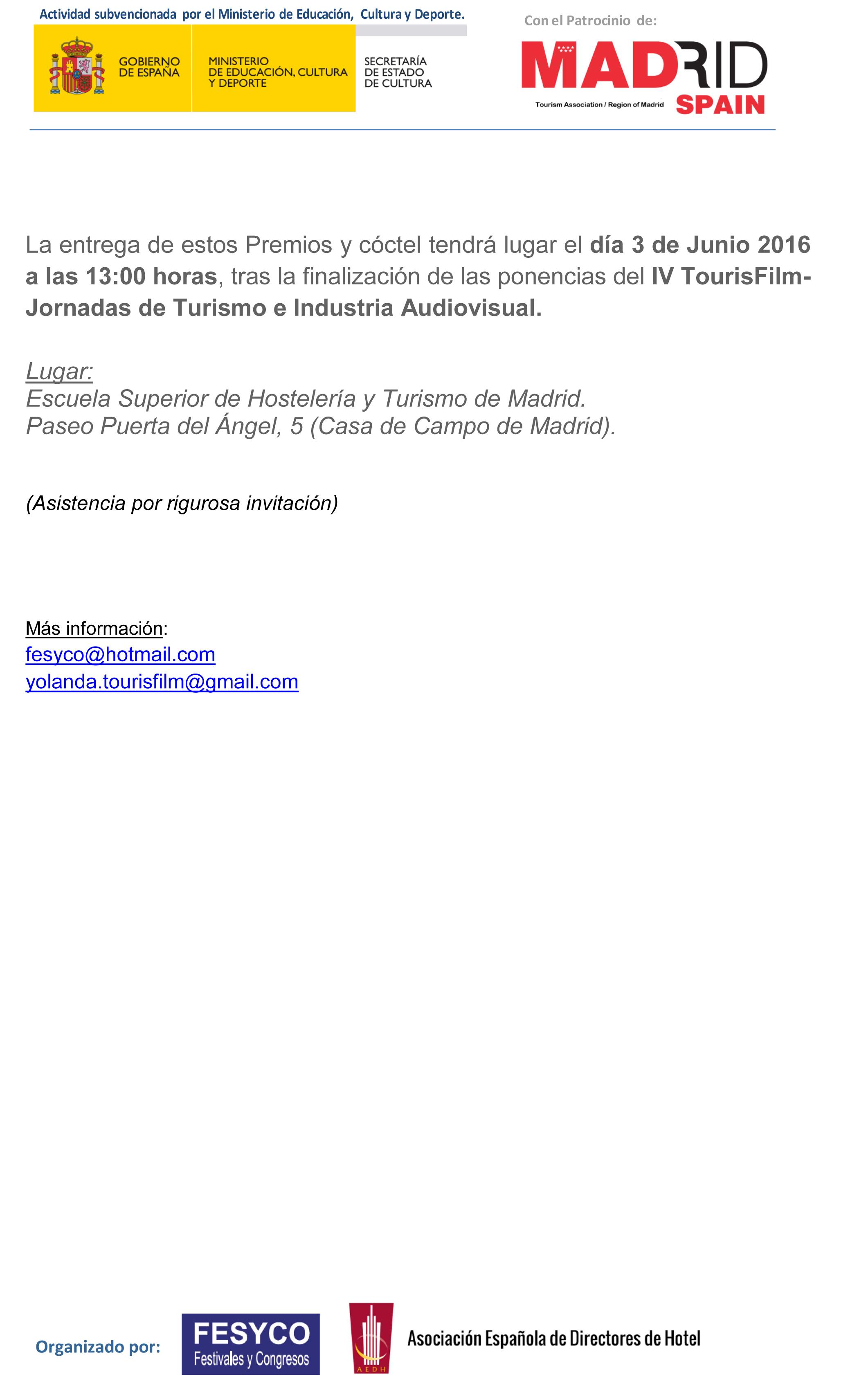 Premios TOURISFILM  2016-2