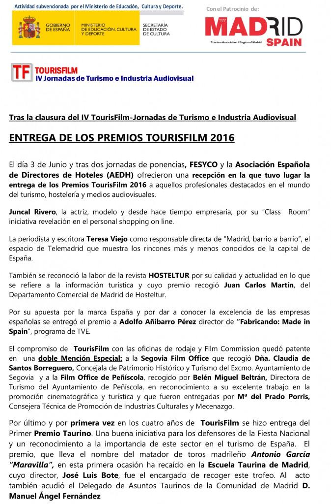 Entrega de los Premios TOURISFILM 2016-1